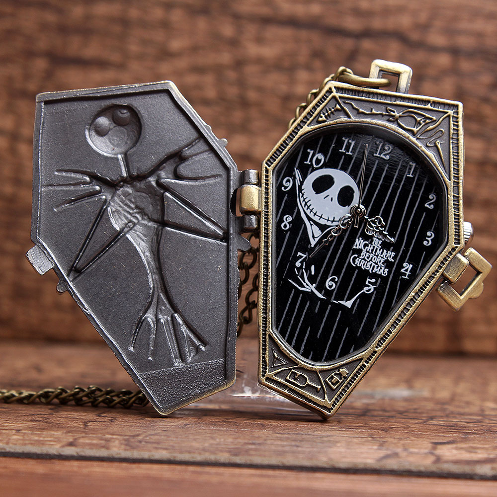New Arrival Retro The Jack Nightmare Before Christmas Skull Skeleton Pocket Watch With Chain Necklace Halloween Watch Gift P304