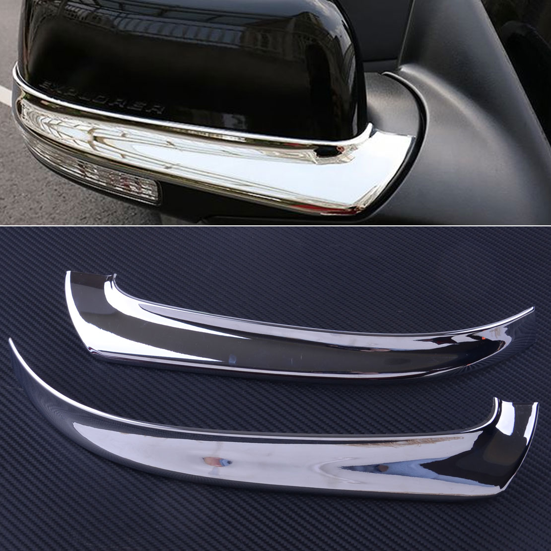 DWCX 2pcs Silver ABS Left Right Chrome Plated Rearview Side <font><b>Mirror</b></font> Cover Strip Trim Fit For <font><b>Ford</b></font> <font><b>Explorer</b></font> 2016 2017 2018 2019 image