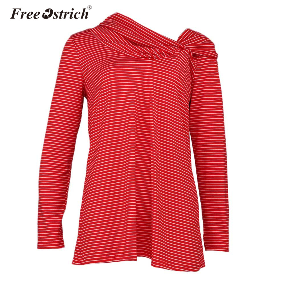Free Ostrich T-Shirts Women Long Sleeve Striped Pattern Casual T shirt Female Tees Elegant Ladies Tees Tops L1930