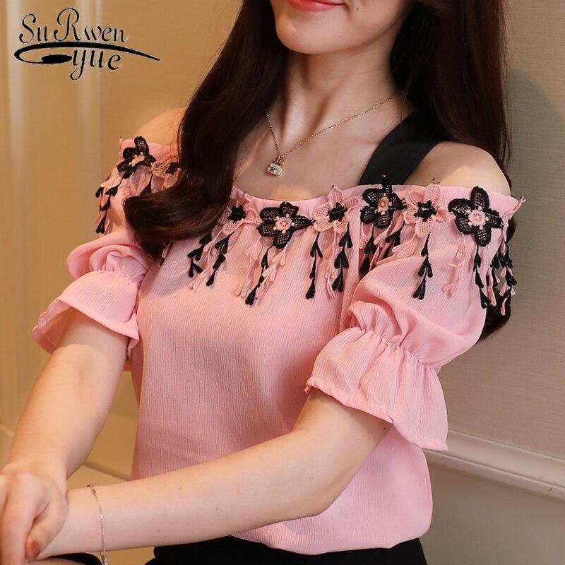 New 2018 Summer Sweet Pink Chiffon Women   Blouse     Shirt   Fashion Short Sleeve Women Tops Slash Neck Women Clothing Blusas D836 30