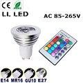 Free shipping 1pcs Energy Saving 6w GU10 E27 E14 B22 AC 85-265V MR16 12V RGB LED Bulb Lamp light Color changing IR Remote