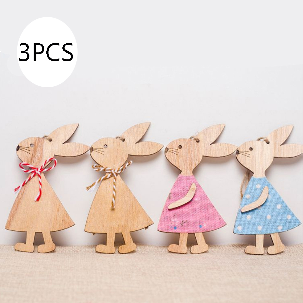 Easter Wooden Bunny Handcraft Ornaments Cute Rabbit Wood Party Home Decoration