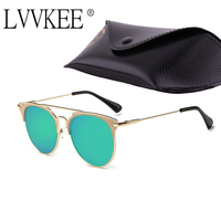 Fashion Rose Gold Women Or Men Luxury Cat Mirror Sunglasses D Round Mirrored Retro Butterfly Glasses