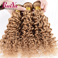 "Cheap Brazilian Deep Wave Virgin Hair 3 Bundles Lot,27# Blonde Brazilian Hair 12""-26"" 100%Brazilian Hair Weave Bundles Very Soft"