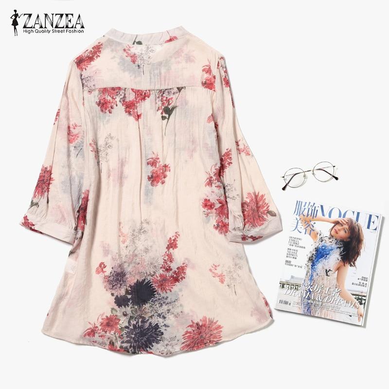 ZANZEA 2018 Women Blouses Casual Vintage Floral Printed Long Tops Fashion V Neck Button Linen Shirts Plus Size Blusas Femininas