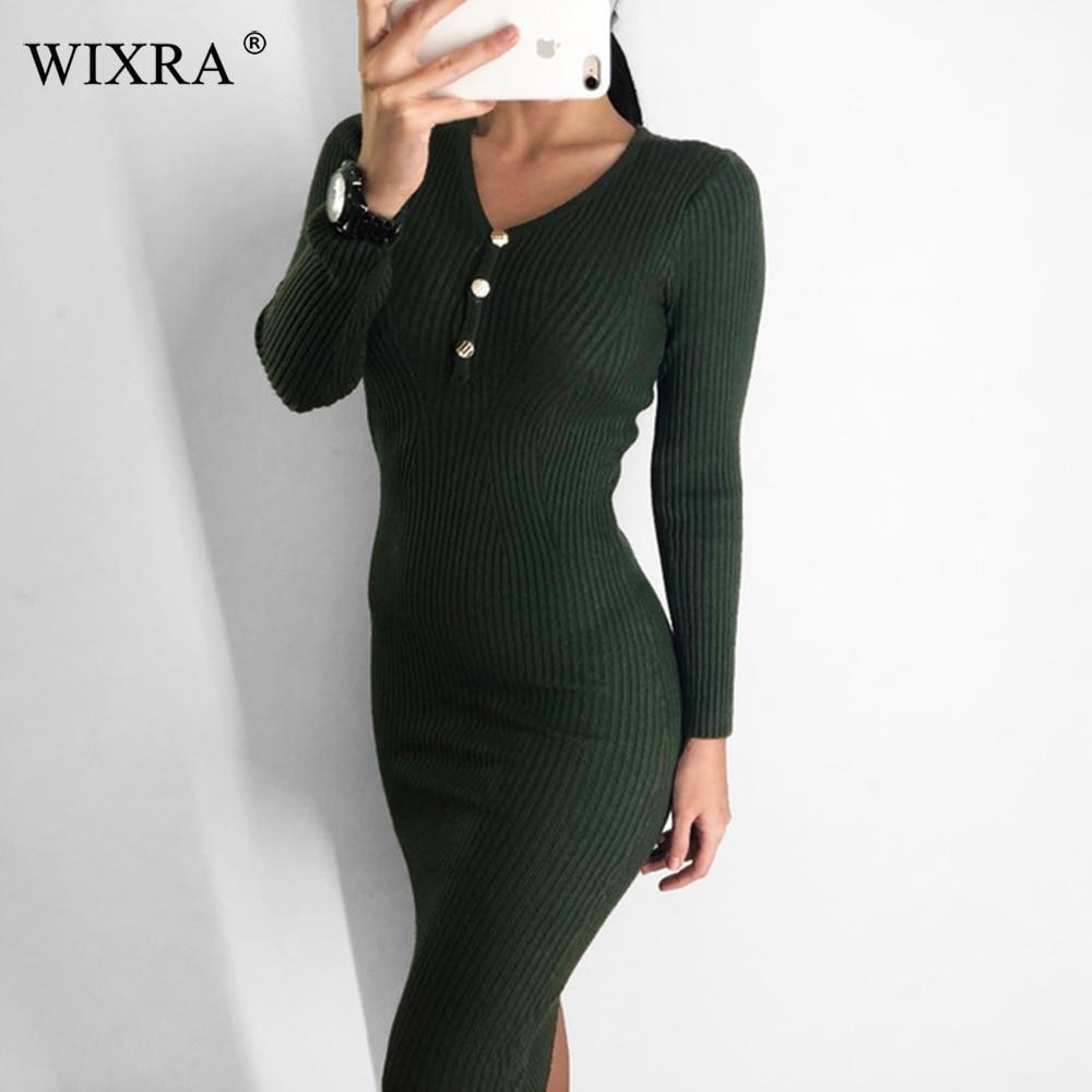 Wixra frauen Bodycon Langarm Gestrickte Kleid Tasten Weibliche Dünne Knielangen V-ausschnitt Stretchy Kleider Für Frauen