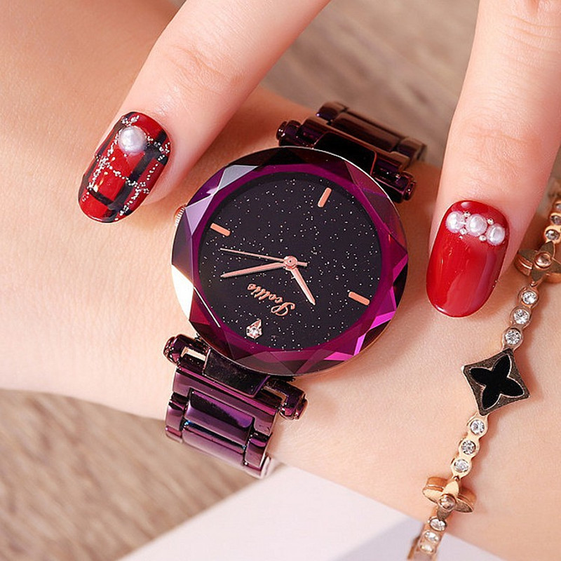 Luxury Brand Lady Watches Women New Diamond Casual Dress Quartz Watch Fashion Starry Dial Watch Woman Clock Female reloj mujer