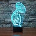 Sax Saxofone criativo 3D LED Noite Luzes Coloridas Lâmpada Presente Candeeiro de Mesa de Acrílico Para A Decoração Iluminações De Natal IY803360