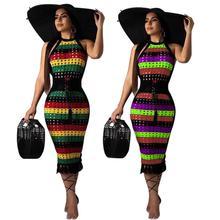 Yfashion Summer Women Sexy Slim Halter Hollow Hole Chic Color Printing Dress
