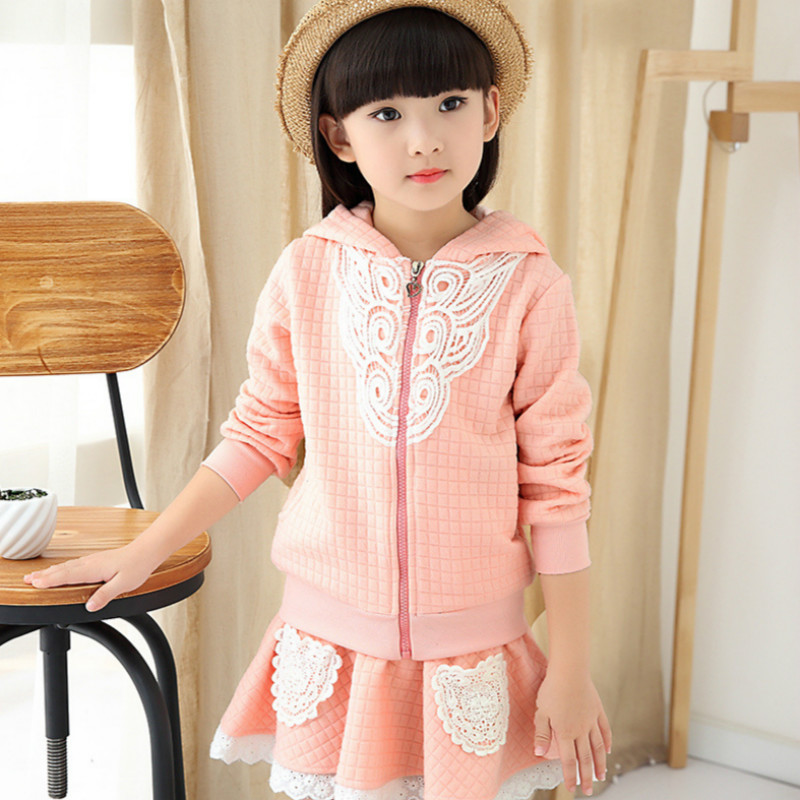 New Baby Girls Skirt Suit for 3-12 Years Kids Full Sleeve Pink Cotton Coat+Girls Skirt 2 Pieces/set Kids Autumn Clothes Set 29W1 le suit new vanilla textured straight skirt 12 $89 dbfl