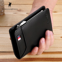 WILLIAMPOLO Genuine Leather Men Wallet With Card Holder Men Short Wallet Purse Zipper Wallets Casual Triple Folding Wallets