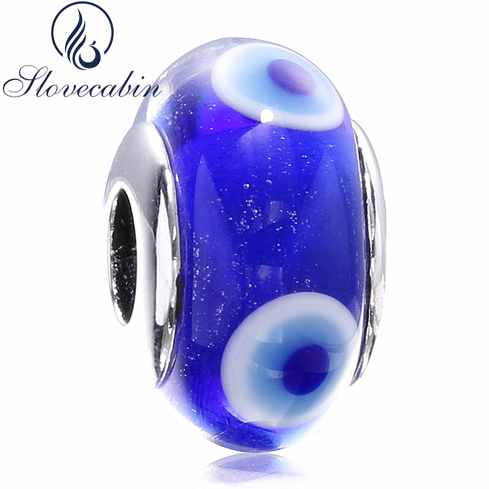 Slovecabin Diy Fit Original Pandora Charms Bracelet Real 925 Sterling Blue Murano GlassSilver Beads For Jewelry Female Wholesale