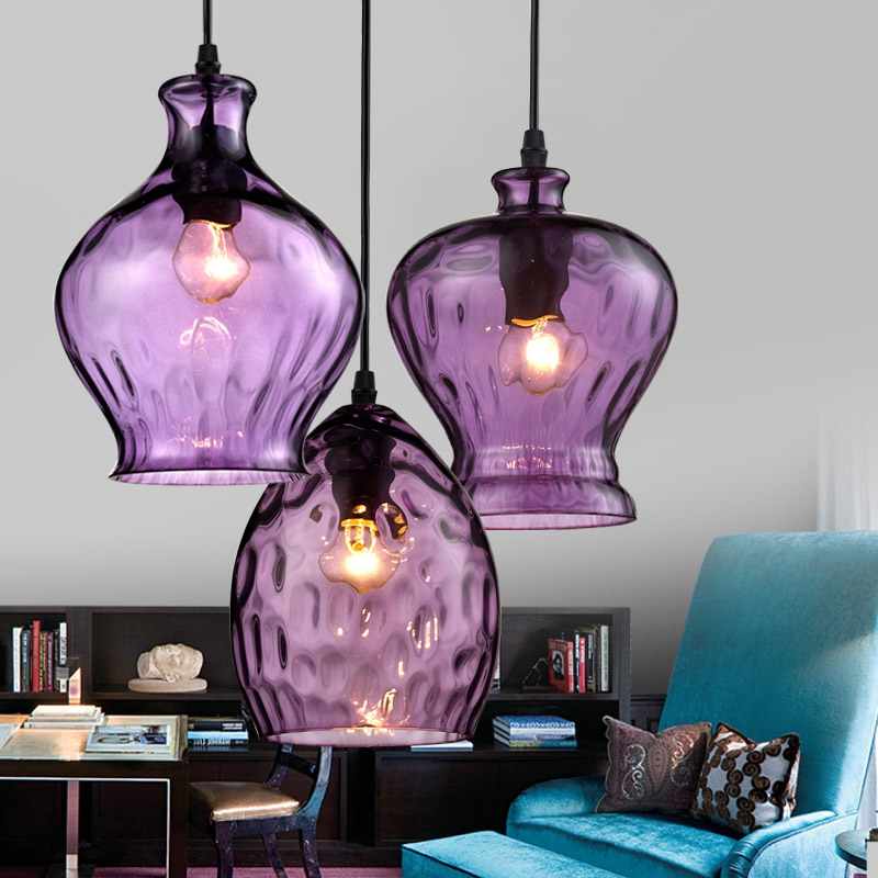 Purple brilliant glass restaurant Pendant Lightfeatures creative single - head restaurant warm coffee shop hanging lampsLU727290