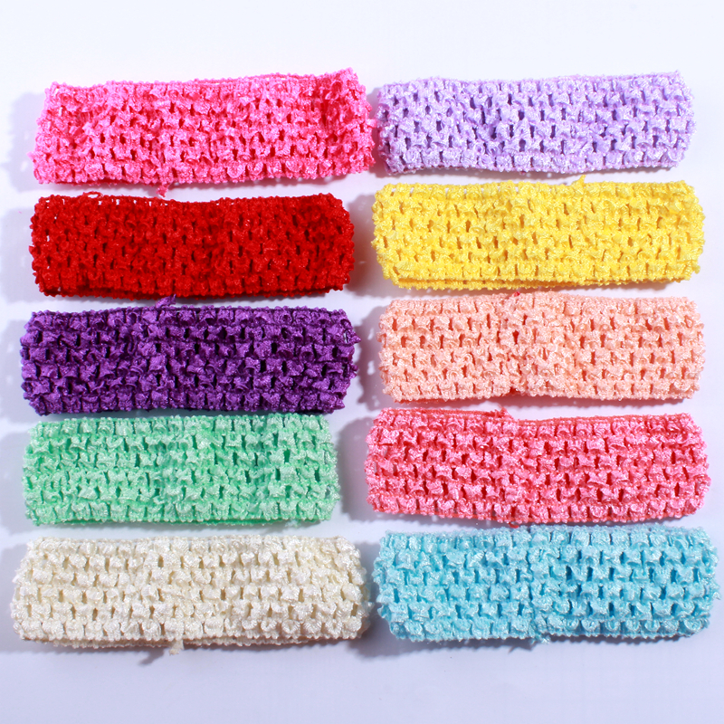 200PCS 4 28CM Fashion Crochet Elastic Band For Head Wear Hollow out Knit Elastic Ribbon Band