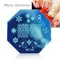 1 PCS Xmas Estilos Nail Art Stamping Template Placa Imagem Do Selo Padrão Do Floco de neve de Natal de Aço Inoxidável DIY Modelos de Placa