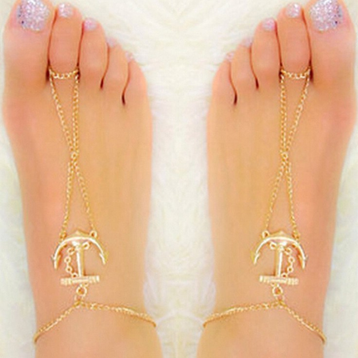Fashion Gold Anchor Anklet Foot bracelets Barefoot sandals Anklets for women Sexy Tin chain Beach anklets