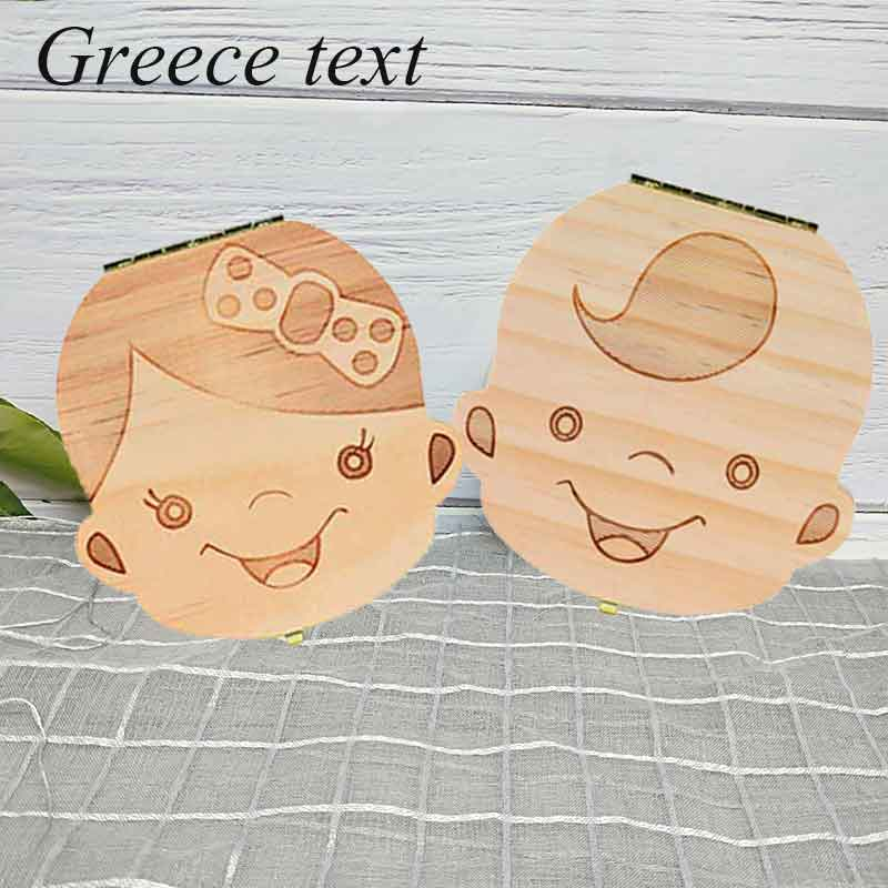 Greece/ English Baby Tooth Box Organizer Milk Teeth Storage Umbilical Lanugo Save Collect Baby Souvenirs Gifts