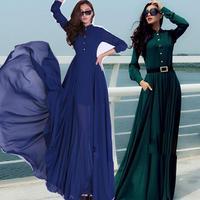 fashion vintage chiffon long sleeve long dress shirt women floor dress plus size with belt
