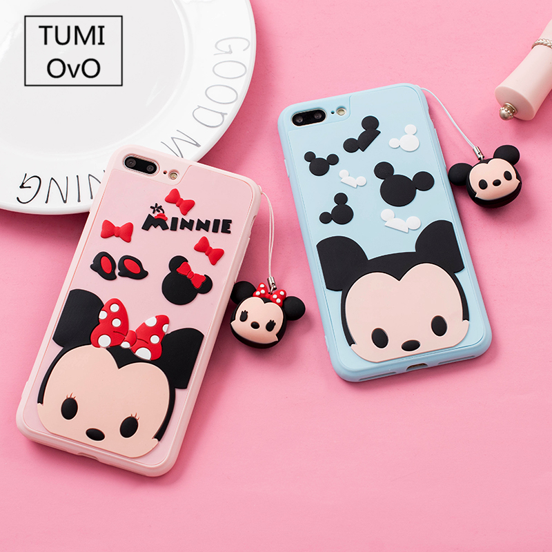 Cute Mickey Minnie Family Pendant Soft Silicon Case For iPhone 6 6s 7 Plus For iPhone 8 Plus Back Phone Full Cover Winnie TPU