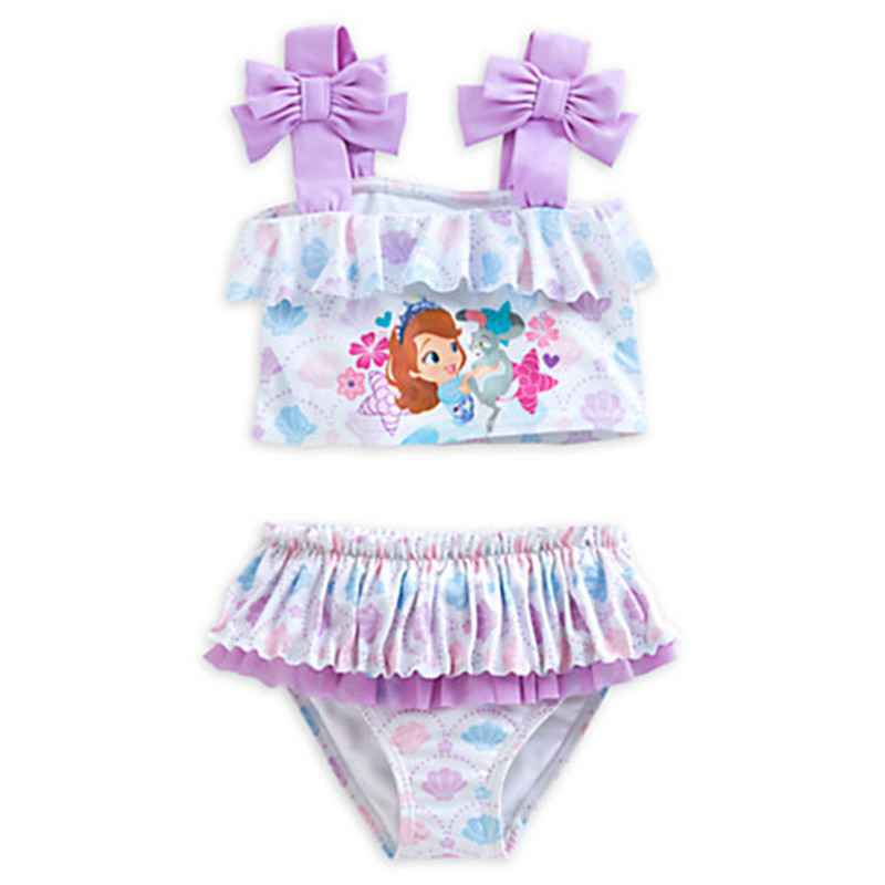 Retail Baby Girls Swimsuit Sofia Princess Two Piecessuit Rash Guard