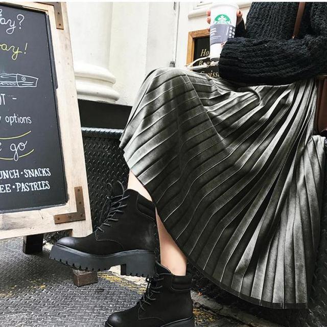 Spring Women Long Metallic Silver Maxi Pleated Midi High Waist Elasticity Casual Party Skirt 4