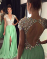 Sexy Backless Side Split Prom Dresses Cap Sleeve Deep V-neck Crystal Beaded Chiffon Party Gown Robe De Soiree
