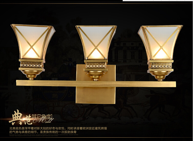 3L Golden Brass Wall Lamp Indoor Wall Sconce Lighting L650mm H150mm Design Copper Wall light Decoration
