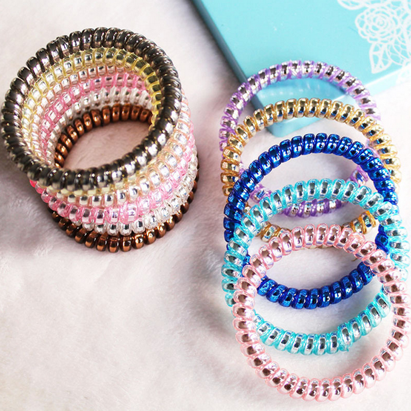 10Pcs phone cord telephone wire elastic plastic Rope Hair Accessories Rubber Band Headwear Hair for women and baby girls hair
