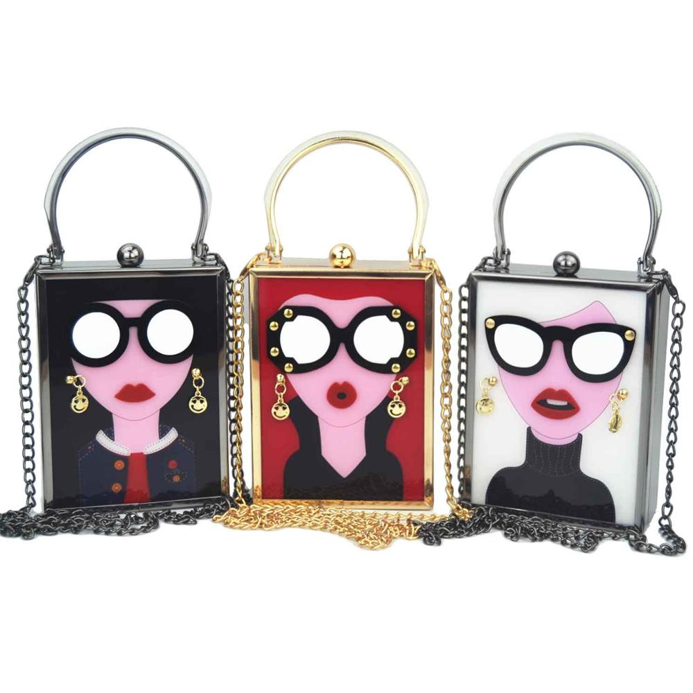 Party Purse Glasses Chain-Day-Clutch Evening-Bag Cute Handbags Acrylic Funny Girls Vintage