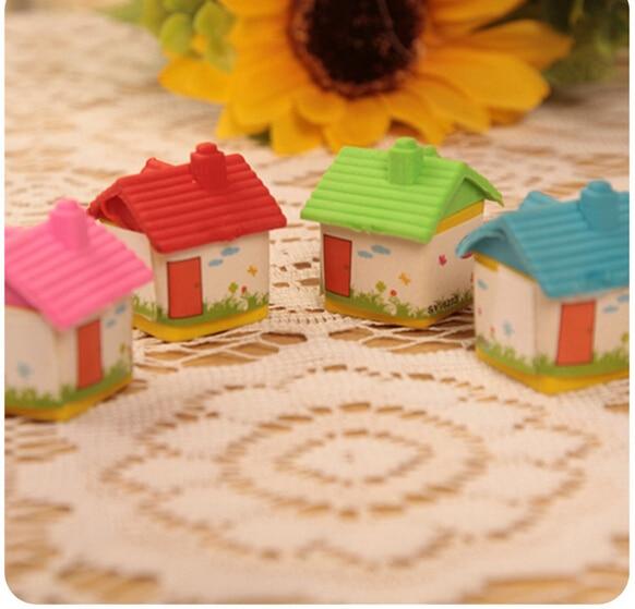 24pcs/lot Mini Cute Color Random Cartoon  House Student School Office Stationery  Creative Stationery Gifts