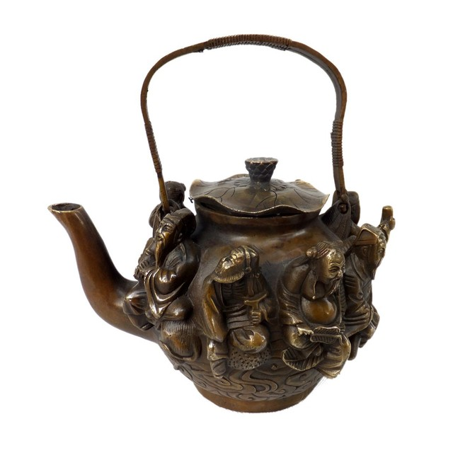 China Excellent Antique Metal Crafts Pure Brass Teapot Carving Hip