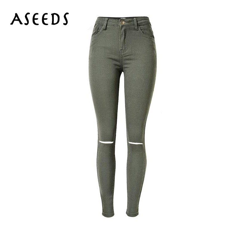 2016 Cotton High waist Jeans Women Autumn fashion brand Slim Ripped Skinny Pencil Pants casual Elastic Denim pants Trousers autumn new fashion cotton jeans women loose low waist washed vintage big hole ripped long denim pencil pants casual girl pants