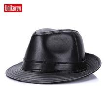 UNIKEVOW Winter Autumn 100% sheep leather Fedoras Top Jazz Hat European  American Round Caps Bowler f04f6e2b31f4
