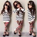 Crianças meninas conjuntos de roupas de estilo Hoodies e Legging 2 peça conjuntos de roupas crianças desgaste de manga comprida D04X09
