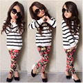Kids Girls Autumn Clothing Sets Stripe Style Hoodies and Legging 2piece Clothes Sets Long Sleeve Childrens Wear D04X09