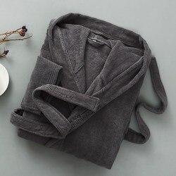 Мужской Хлопковый банный халат, зимний махровый банный халат с капюшоном, плотная теплая длинная веревка, для пар, для отеля, дома, сорочка д...