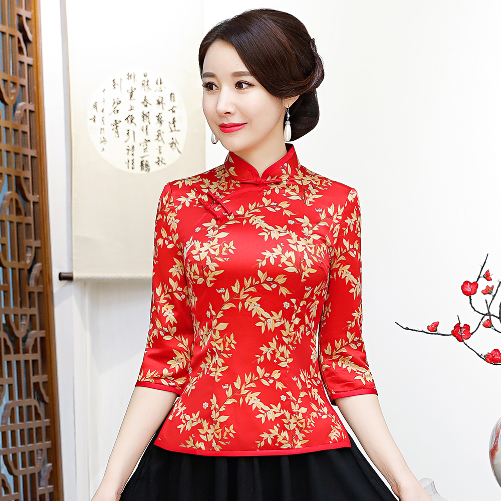 Printed Female Business Shirt Traditional Mandarin Collar Blouse Red Chinese Style Wedding Clothes Elegant Tang Tops 3XL 4XL