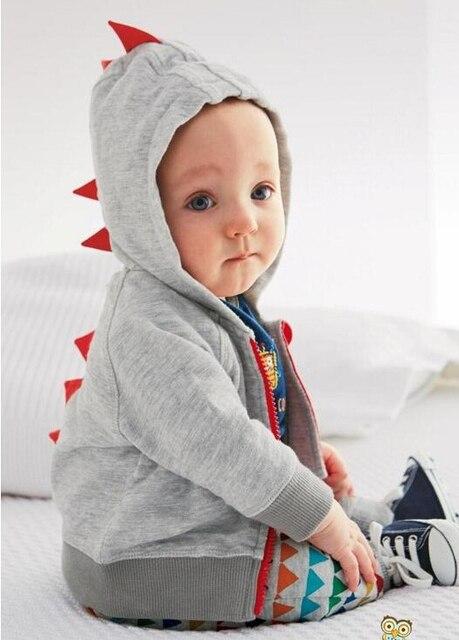 Бесплатная доставка весной и осенью период и в виде мальчик детские динозавры молнии с капюшоном куртка ватки