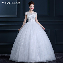 VAMOLASC Illusion Sequined O Neck Ball Gown Lace Wedding Dresses Short Cap Sleeve Bow Sash Backless Bridal Gowns