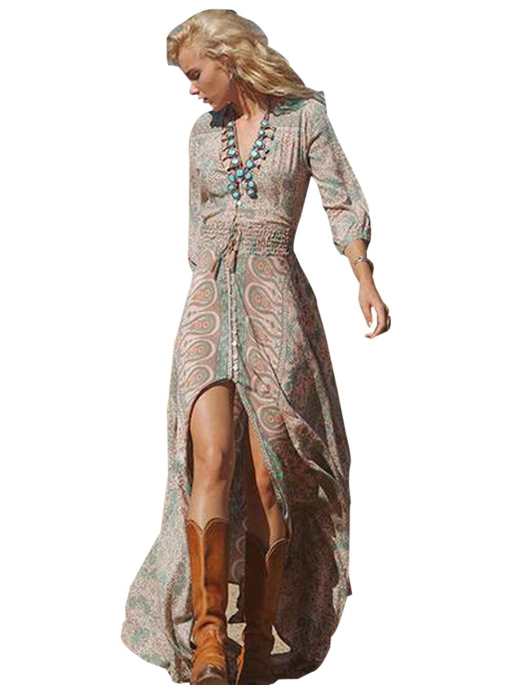 front slit high low long maxi boho women dress v neck
