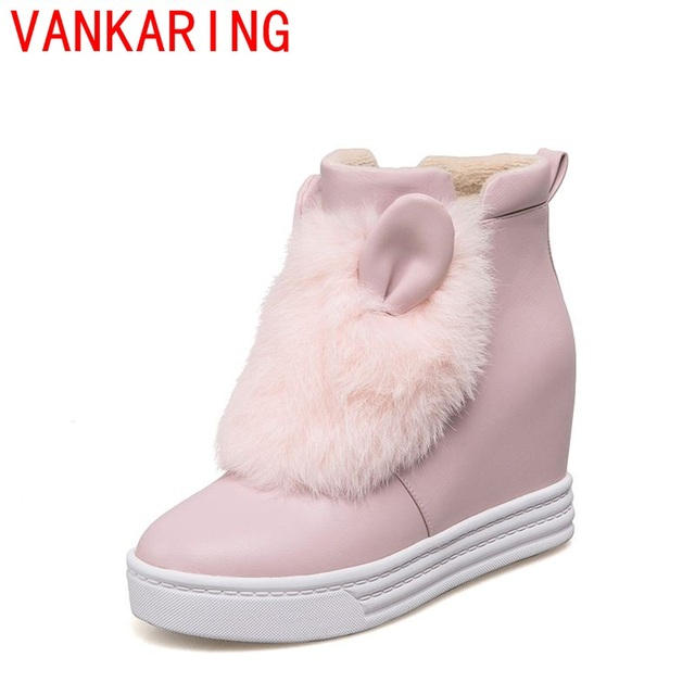 VANKARINGshoes 2017 das mulheres ankle boots estilo bonito adorável Coelho orelhas de coelho decoração do cabelo da senhora sapatos de pelúcia quente e confortável