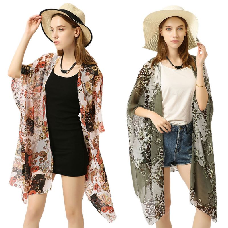 Capable Womens Summer Chiffon Swimsuit Cover Up Boho Colored Leopard Paisley Floral Printed Irregular Oversized Loose Open Cardigan Special Buy
