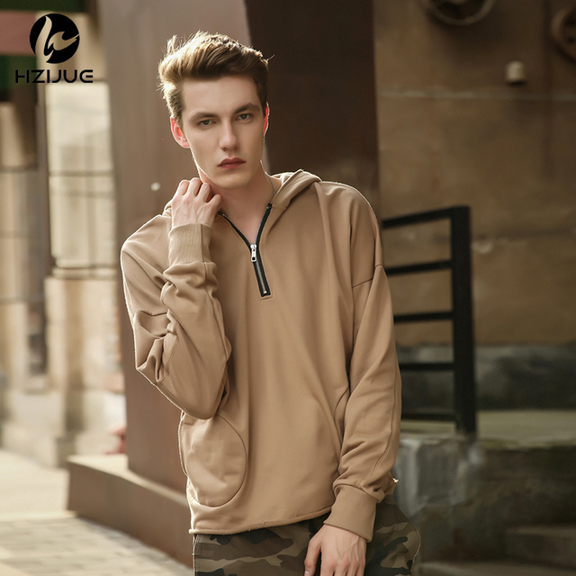 Hzijue 2019 Men Zipper Neck Hoodies Men Fashion Set Winter Male