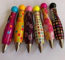 Creative Fresh Cute Short Fat Pen  Portable Cartoon colourful round dot flower Ballpoint 10pcs