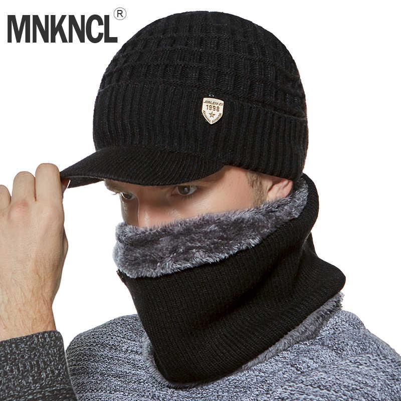 83b5049fbbc MNKNCL Winter Hat Scarf Warmer Hat Winter Beanies For Men Women Wool Scarf  Cap Balaclava Mask
