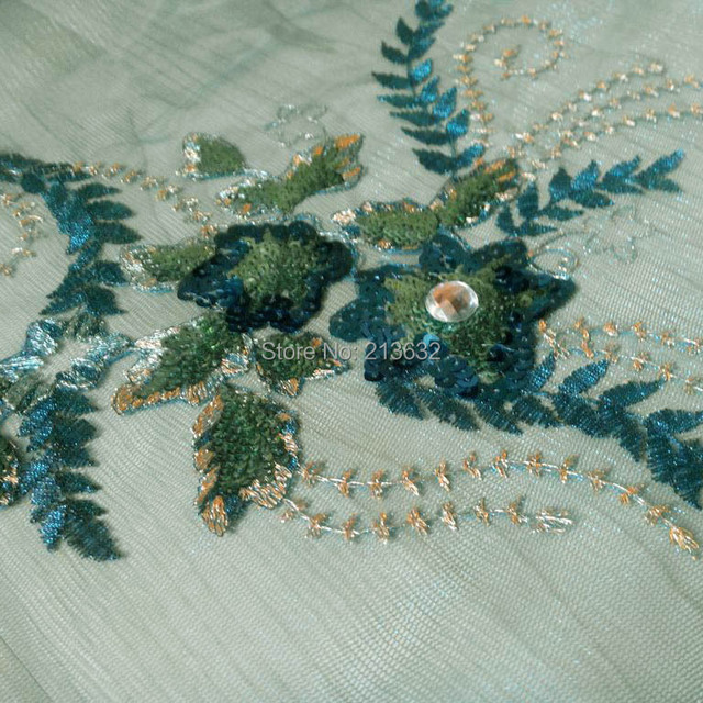 Blue background stone flowers crystal turquoise flower top fabrics