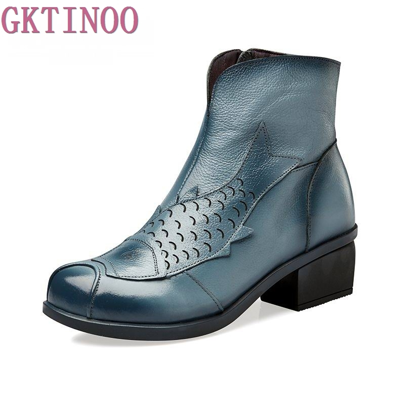 NEW ARRIVAL Vintage Style Boots Genuine Leather Ankle Shoes Vintage Mom Women Shoes Retro Handmade Boots For Women