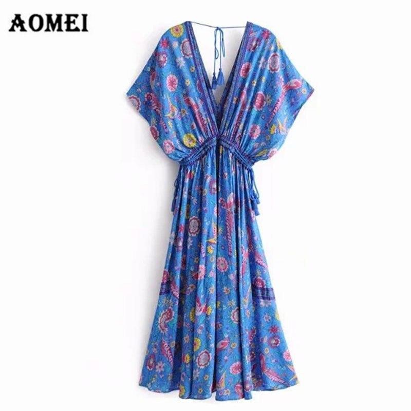 Femmes robe bohème été plage Boho imprimé col en V dos nu plissé Floral dames Robes avec ceintures Robes femme mode