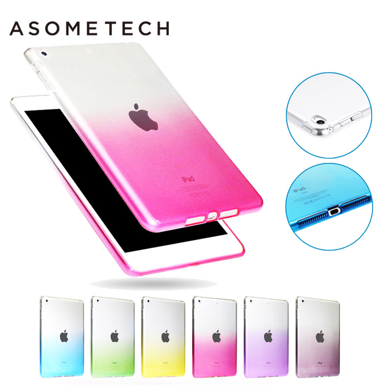 Hot Gradient Colorful Soft Case For iPad 2 3 4 pro 9. 7 Transparent Coque TPU Cover Silicone Protective Capa for 2017 New iPad soft tpu tablet back case for ipad air 1 2 silicone transparent cover for ipad mini 1 2 3 for ipad2 3 4 crystal protective case