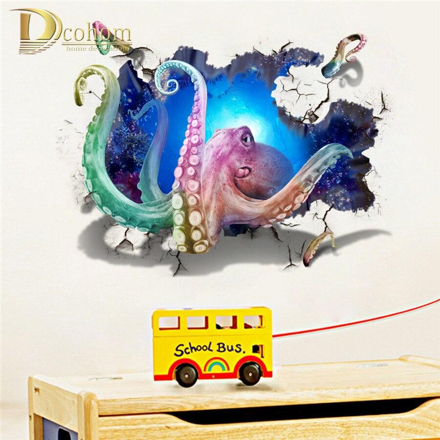 Фантастические сломанной стены осьминог животных украшения 3D стены Стикеры дома виниловые наклейки на стены Книги по искусству плакат Гос...